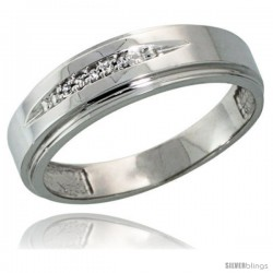 Sterling Silver Men's Diamond Wedding Band Rhodium finish, 1/4 in wide -Style Ag013mb