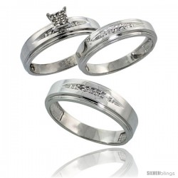 Sterling Silver Diamond Trio Wedding Ring Set His 6mm & Hers 5mm Rhodium finish -Style Ag013w3