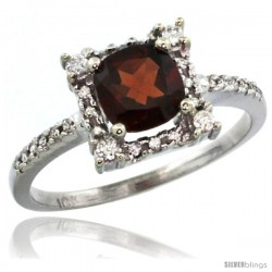 14k White Gold Diamond Halo Garnet Ring 1.2 ct Checkerboard Cut Cushion 6 mm, 11/32 in wide