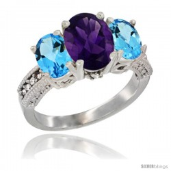 10K White Gold Ladies Natural Amethyst Oval 3 Stone Ring with Swiss Blue Topaz Sides Diamond Accent
