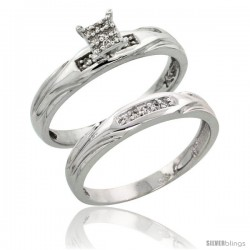 Sterling Silver Ladies' 2-Piece Diamond Engagement Wedding Ring Set Rhodium finish, 1/8 in wide -Style Ag014e2
