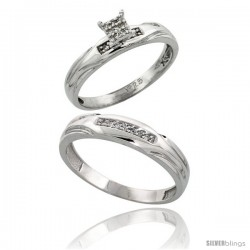 Sterling Silver 2-Piece Diamond wedding Engagement Ring Set for Him & Her Rhodium finish, 3.5mm & 4.5mm wide