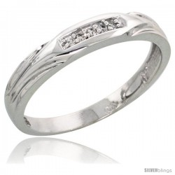 Sterling Silver Ladies' Diamond Wedding Band Rhodium finish, 1/8 in wide -Style Ag014lb