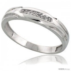 Sterling Silver Men's Diamond Wedding Band Rhodium finish, 3/16 in wide -Style Ag014mb