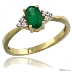 14k Yellow Gold Ladies Natural Emerald Ring oval 7x5 Stone Diamond Accent