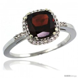 14k White Gold Diamond Garnet Ring 1.5 ct Checkerboard Cut Cushion Shape 7 mm, 3/8 in wide