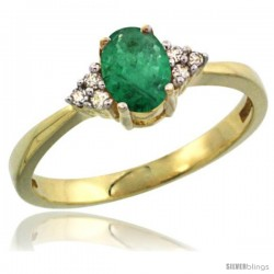 14k Yellow Gold Ladies Natural Emerald Ring oval 6x4 Stone Diamond Accent