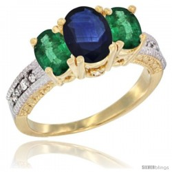 14k Yellow Gold Ladies Oval Natural Blue Sapphire 3-Stone Ring with Emerald Sides Diamond Accent
