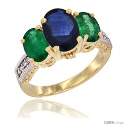 14K Yellow Gold Ladies 3-Stone Oval Natural Blue Sapphire Ring with Emerald Sides Diamond Accent