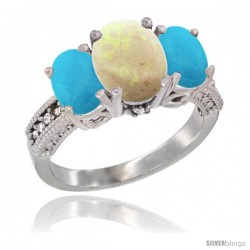 14K White Gold Ladies 3-Stone Oval Natural Opal Ring with Turquoise Sides Diamond Accent
