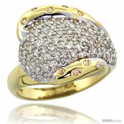 14k Gold Dome Diamond Ring w/ 0.36 Carat Brilliant Cut ( H-I Color SI1 Clarity ) Diamonds, 5/8 in. (16mm) wide