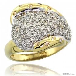 14k Gold Dome Diamond Ring w/ 0.36 Carat Brilliant Cut ( H-I Color SI1 Clarity ) Diamonds, 5/8 in. (16mm) wide