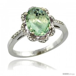 Sterling Silver Diamond Halo Natural Green Amethyst Ring 1.65 Carat Oval Shape 9X7 mm, 7/16 in (11mm) wide