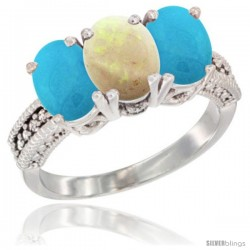 14K White Gold Natural Opal & Turquoise Sides Ring 3-Stone 7x5 mm Oval Diamond Accent