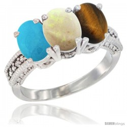14K White Gold Natural Turquoise, Opal & Tiger Eye Ring 3-Stone 7x5 mm Oval Diamond Accent