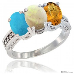 14K White Gold Natural Turquoise, Opal & Whisky Quartz Ring 3-Stone 7x5 mm Oval Diamond Accent