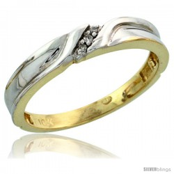 10k Yellow Gold Ladies Diamond Wedding Band Ring 0.02 cttw Brilliant Cut, 1/8 in wide -Style Ljy008lb