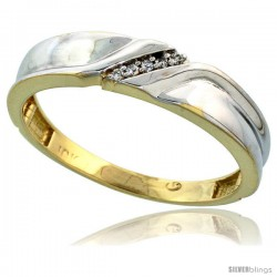 10k Yellow Gold Mens Diamond Wedding Band Ring 0.04 cttw Brilliant Cut, 3/16 in wide -Style Ljy008mb