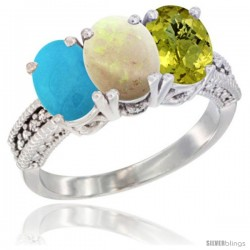 14K White Gold Natural Turquoise, Opal & Lemon Quartz Ring 3-Stone 7x5 mm Oval Diamond Accent