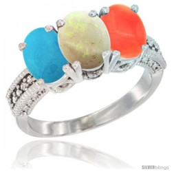 14K White Gold Natural Turquoise, Opal & Coral Ring 3-Stone 7x5 mm Oval Diamond Accent