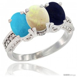 14K White Gold Natural Turquoise, Opal & Lapis Ring 3-Stone 7x5 mm Oval Diamond Accent