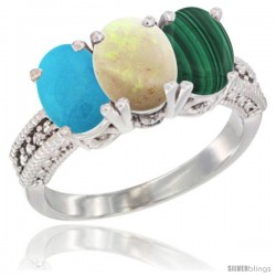 14K White Gold Natural Turquoise, Opal & Malachite Ring 3-Stone 7x5 mm Oval Diamond Accent