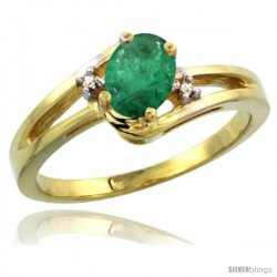 14k Yellow Gold Ladies Natural Emerald Ring oval 6x4 Stone Diamond Accent -Style Cy415165