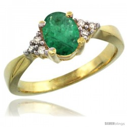 14k Yellow Gold Ladies Natural Emerald Ring oval 7x5 Stone Diamond Accent -Style Cy415168