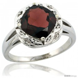14k White Gold Diamond Halo Garnet Ring 2.7 ct Checkerboard Cut Cushion Shape 8 mm, 1/2 in wide