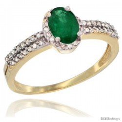 14k Yellow Gold Ladies Natural Emerald Ring oval 6x4 Stone Diamond Accent -Style Cy415178