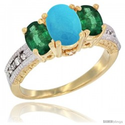 14k Yellow Gold Ladies Oval Natural Turquoise 3-Stone Ring with Emerald Sides Diamond Accent