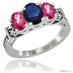 14K White Gold Natural Blue Sapphire & Pink Topaz Ring 3-Stone Oval with Diamond Accent