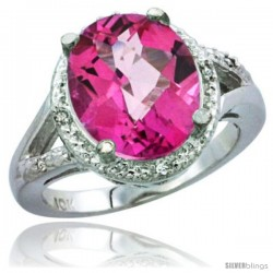 14k White Gold Ladies Natural Pink Topaz Ring oval 12x10 Stone Diamond Accent