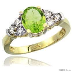 10k Yellow Gold Ladies Natural Peridot Ring oval 9x7 Stone