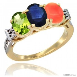 10K Yellow Gold Natural Peridot, Blue Sapphire & Coral Ring 3-Stone Oval 7x5 mm Diamond Accent