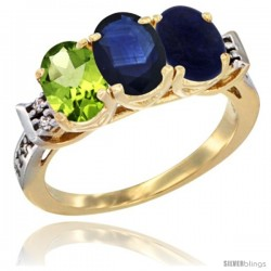 10K Yellow Gold Natural Peridot, Blue Sapphire & Lapis Ring 3-Stone Oval 7x5 mm Diamond Accent