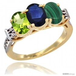 10K Yellow Gold Natural Peridot, Blue Sapphire & Malachite Ring 3-Stone Oval 7x5 mm Diamond Accent