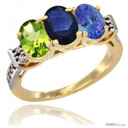 10K Yellow Gold Natural Peridot, Blue Sapphire & Tanzanite Ring 3-Stone Oval 7x5 mm Diamond Accent