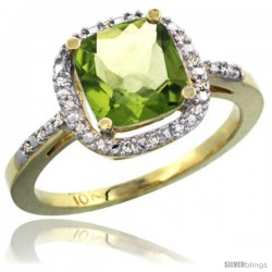 10k Yellow Gold Ladies Natural Peridot Ring Cushion-cut 3.8 ct. 8x8 Stone