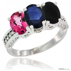 14K White Gold Natural Pink Topaz, Blue Sapphire & Black Onyx Ring 3-Stone 7x5 mm Oval Diamond Accent