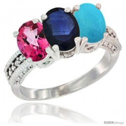 14K White Gold Natural Pink Topaz, Blue Sapphire & Turquoise Ring 3-Stone 7x5 mm Oval Diamond Accent