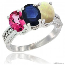 14K White Gold Natural Pink Topaz, Blue Sapphire & Opal Ring 3-Stone 7x5 mm Oval Diamond Accent