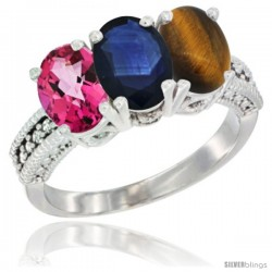 14K White Gold Natural Pink Topaz, Blue Sapphire & Tiger Eye Ring 3-Stone 7x5 mm Oval Diamond Accent