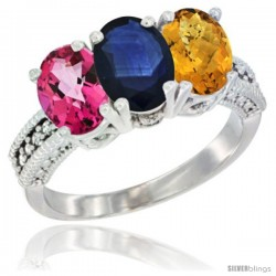 14K White Gold Natural Pink Topaz, Blue Sapphire & Whisky Quartz Ring 3-Stone 7x5 mm Oval Diamond Accent