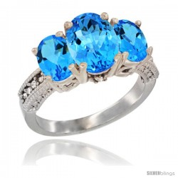 10K White Gold Ladies Natural Swiss Blue Topaz Oval 3 Stone Ring Diamond Accent