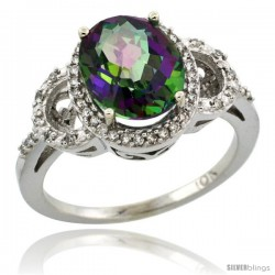 10k White Gold Diamond Halo Mystic Topaz Ring 2.4 ct Oval Stone 10x8 mm, 1/2 in wide