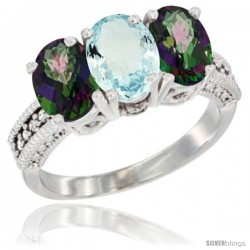 10K White Gold Natural Aquamarine & Mystic Topaz Sides Ring 3-Stone Oval 7x5 mm Diamond Accent