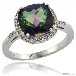 10k White Gold Diamond Mystic Topaz Ring 3.05 ct Cushion Cut 9x9 mm, 1/2 in wide