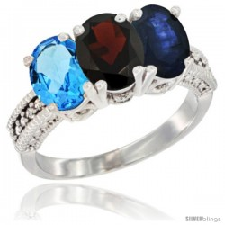 10K White Gold Natural Swiss Blue Topaz, Garnet & Blue Sapphire Ring 3-Stone Oval 7x5 mm Diamond Accent