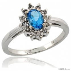 10k White Gold Swiss Blue Topaz Diamond Halo Ring Oval Shape 1.2 Carat 6X4 mm, 1/2 in wide